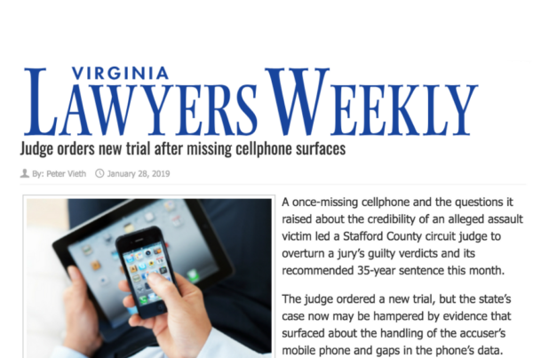 Sex Crimes Attorney Hollingsworth in Virginia Lawyers Weekly