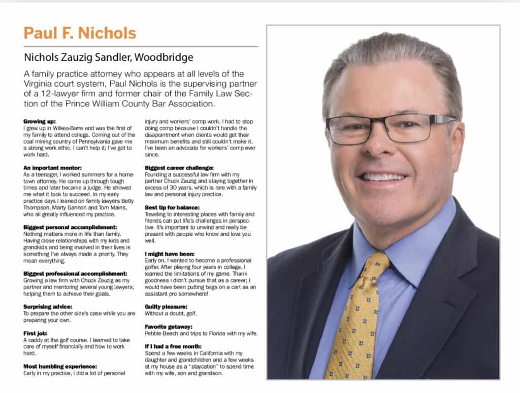 Divorce Lawyer Paul Nichols named Virginia Legal Leader 2019